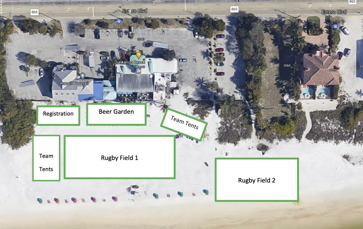 Map of Junkanoo on the Beach and the Beerfoot Beach Rugby Tournament event in Fort Myers Beach, Florida. Located at 3040 Estero Blvd, Fort Myers Beach, Florida 33931.